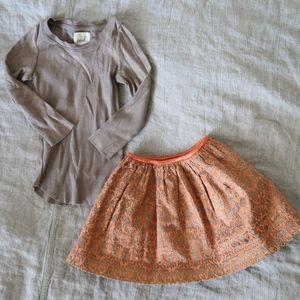 Peek little peanut Nordstrom long sleeve tee skirt